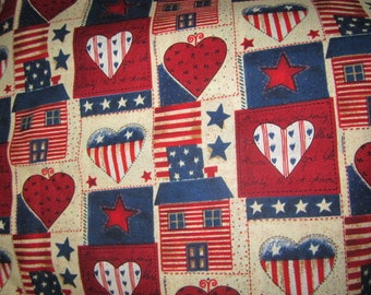 Davids Textiles Patriotic Patchwork  BTY Red White Blue Hearts StarsSaltbox Houses Light Background Country Look Patriotic Fabric Americana