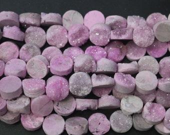 1 strand Druzy Beads, Druzy Quartz Beads,Pink Round Drilled Druzy Beads,Cabochon Beads