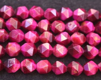 Faceted Rese Red Tigereye Nugget Beads, 6mm 8 mm 10mm 12mm Rose Red Tigereye faceted nugget Beads, 15 inches per strand