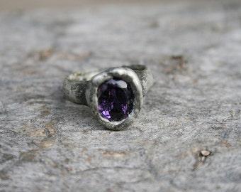 amethyst ring, purple ring, crystal ring, tiffany method, statement ring, organic ring, for her, raw ring, OOAK, tanzanite, BakaArt