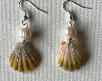 Sunrise Sea Shell Silver Wire Wrapped Dangling Earrings With Freshwater Pearls