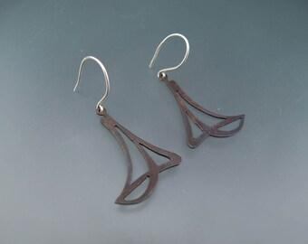 Earrings Art Deco metalwork earrings, Sterling silver earrings, Sterling Silver earrings, handmade artisan jewelry of law, Mothers day