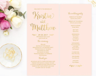 Pink Gold Wedding Program, Printable Program, Blush Pink Gold Wedding Program, Wedding Ceremony Program Faux Gold Foil Wedding Program PGFWF