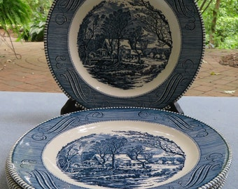 Mid Century Set of FOUR Royal China Currier and Ives Dinner Plates Old Grist Mill Made in USA Perfect Condition SEE Details