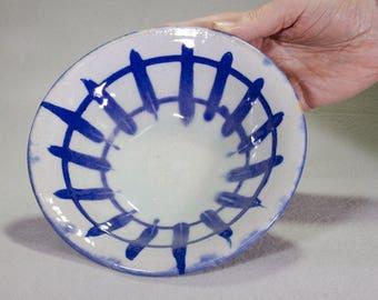 Blue and White Wheel Thrown Stoneware Ceramic Bowl with under glaze Cobalt Slip Decoration