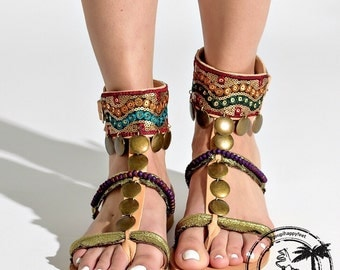 "Handmade sandals, greek leather sandals, "" Casablanca"", bohemian sandals, boho , genuine leather shoes, beach sandals, ethnic gladiators"