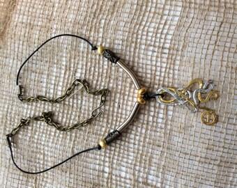 Hammered metal bohemian bronze necklace