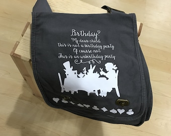 Alice in Wonderland Canvas Messenger Bag