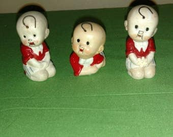 """Three 1920's German Bisque """"BUTTERCUP"""" Nodders From Comic Strip """"TOOTS And CASPER"""""""