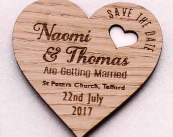 Save The Date Wood Magnets, Wedding Save The Dates, Personalized Wedding Magnets, Save The Evening Invites