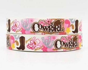 7/8 inch My Cowgirl -  Printed Grosgrain Ribbon for Hair Bow
