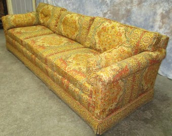 Retro Fabric Davenport Couch Sofa Vintage 60s 70s Danish Modern Furniture a