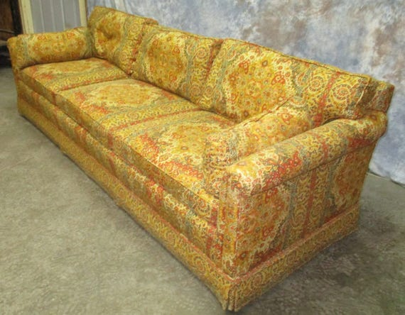 retro fabric davenport couch sofa vintage 60s 70s danish. Black Bedroom Furniture Sets. Home Design Ideas