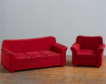 Strombecker Wooden Flocked Sofa & Chair - 1:16 / 3/4 Inch Scale Vintage Dollhouse Furniture