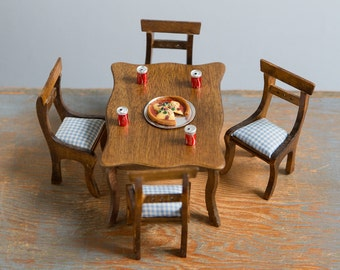 Wooden Table & Chairs with Pizza and 4 Coca Colas - 1:12 Scale Vintage Dollhouse Furniture
