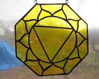 Solar plexus Chakra Reiki Meditation Stained Glass Suncatcher