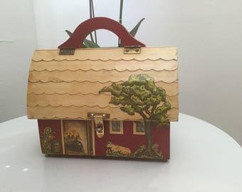 Red Barn decoupage wood box purse