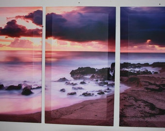 New morning mist beach tryptic set canvas photography