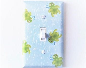 Sea turtle decor - Turtle light switch cover - Sea turtle wall art - Sea turtle nursery - Sea creatures - Sea animals - Nautical decor