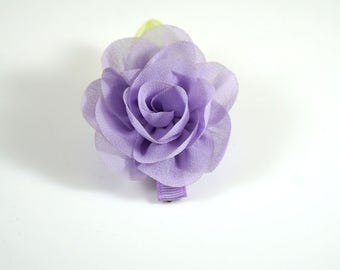 Purple Rose Clip. Chiffon Flower Clip. Flower Hair Clip. Easter Bow. Toddler Barrette. Baby Barrette. Flower Barrette. Purple Toddler Clip