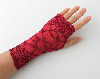 Red Wine Lace Gloves, fingerless mittens, gift for her,