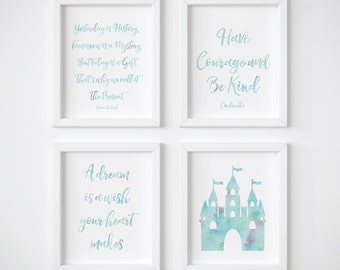 Cinderella Nursery Art, Disney Wall Art, Winnie The Pooh Quote, Have Courage And Be Kind, Set Of 4, Cinderella Castle Print