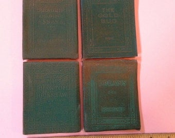 """Antique set of 4 Little Leather Library books. Each measures 4"""" x 3"""". #681"""
