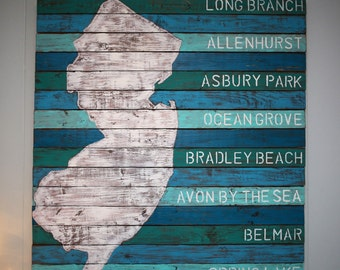 New Jersey Painted Wood Wall Art with NJ Beach Towns