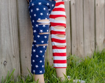 Flag Leggings // Toddler July 4 Outfit // Ripped Leggings // Toddler Leggings // Toddler USA Outfit // Distressed Patriotic Flag Pants 4T 5T