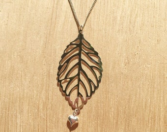 Leaf and Heart Charm Necklace