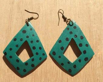 Handpainted Green & Black Polka Dot Wood Earrings