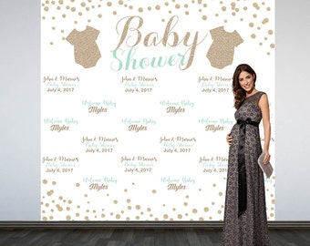 Glitter Baby Clothes Baby Shower Backdrop- Photo Booth Backdrop- Mint and Gold Baby Shower Backdrop, Custom Backdrop, Party Backdrop