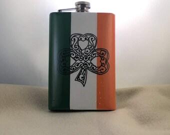 Flask ,St Patricks day, Hip flask, Stainless steel flask, 8 oz., Whiskey Flask, Celtic clover, Irish pride, Irish flag