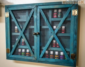 Rustic Cabinet {Small} Shelf Storage Essential Oil, Young Living, Doterra, Nail Polish, Makeup, Spice Rack