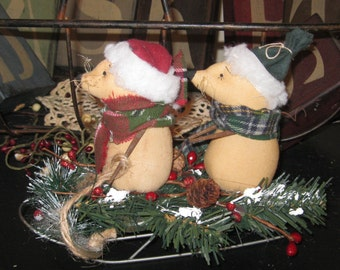Christmas Decoration - Holiday Decoration - Mice Decoration