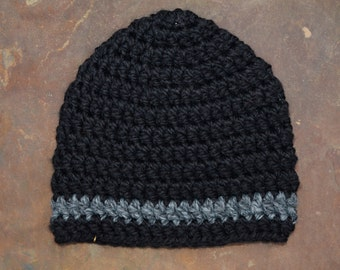 Black with Grey Stripe Beanie