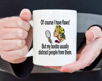 Funny coffee mug, retro woman, I have flaws, great boobs, big boobs, sarcasm, sassy mug, retro mug, vanity, distracting boobs, sassy mug