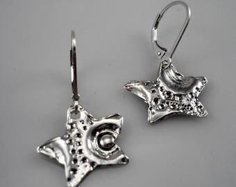 Silver earrings, star earrings, sterling silver small star earrings, dangly silver star earrings, silver leverback earrings, 925 earrings
