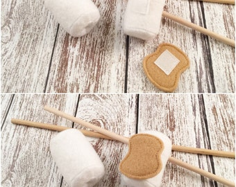 Marshmallow, Eco-friendly Felt Marshmallows w/ Roasting Sticks for Campfire, Montessori Toy, Play Food, Pretend, Camping