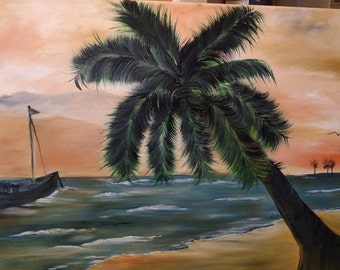 Palm tree on beach with waves and a boat 18 x 24 oil on canvas sunset