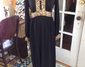 60's black and gold trim polyester knit maxi dress