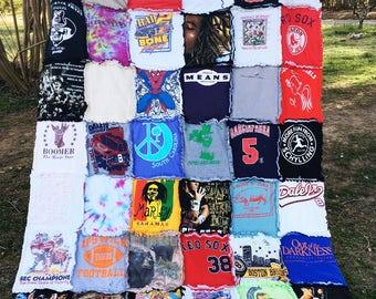 SALE Recycled T-Shirt Rag Quilt, Lightweight Tee Shirt Blanket, Handmade Old Shirt Quilt Free Teddy Bear