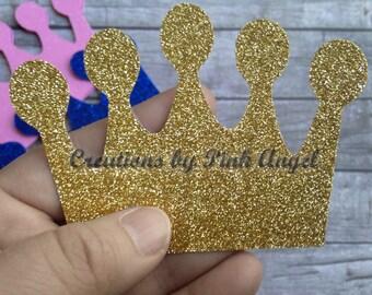 Set of 12 Small or Big Crown Cutouts, Glitter Crown Die Cuts, Gold Glitter Crown Cut Outs, Crown Dies, Prince Princess Cutouts