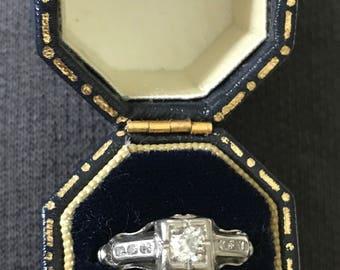 Vintage Platinum and Diamond Engagement ring Old Mine European Cut sz 5.5