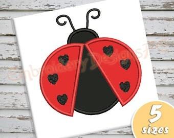 Ladybug Applique Design - 5 sizes - Machine Embroidery Design File