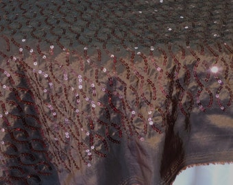"""Sequins, 54"""" wide stitched in a Helix pattern on taffeta, Chocolate color. sold by the yard"""