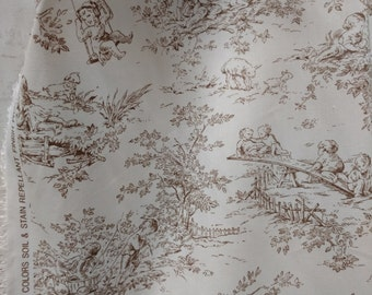 P. Kaufmann Central Park Toile Horizon Fabric, sold by the yard, Natural color. Free Shipping