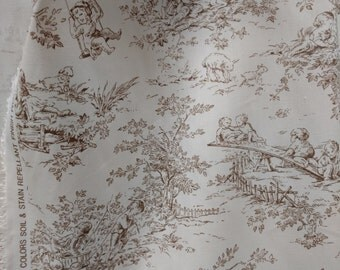 P. Kaufmann Central Park Toile Horizon Fabric, sold by the yard, Natural color. Free Shipping in  USA