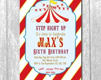 Carnival Circus Birthday Invitation printable/Under Big Top, boy, girl, carousel, movie, red/Digital File/wording can be changed