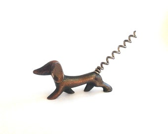 Vintage metal soviet corkscrew dachshund. Bottle Opener. Kitchen Supplies. Souvenir. Made in USSR, 1970s